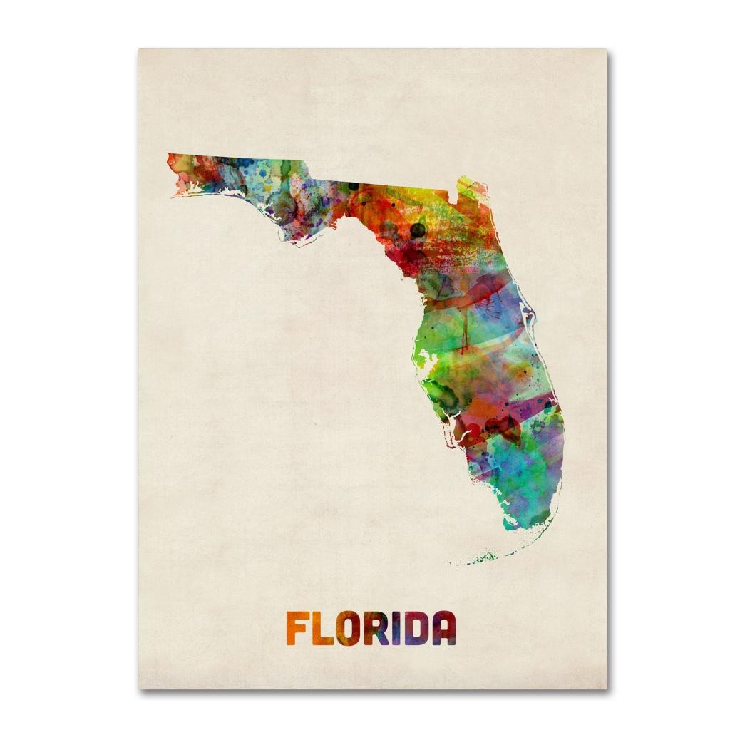 Trademark Art 'florida Map'michael Tompsett Framed Graphic Art - Florida Map Artwork