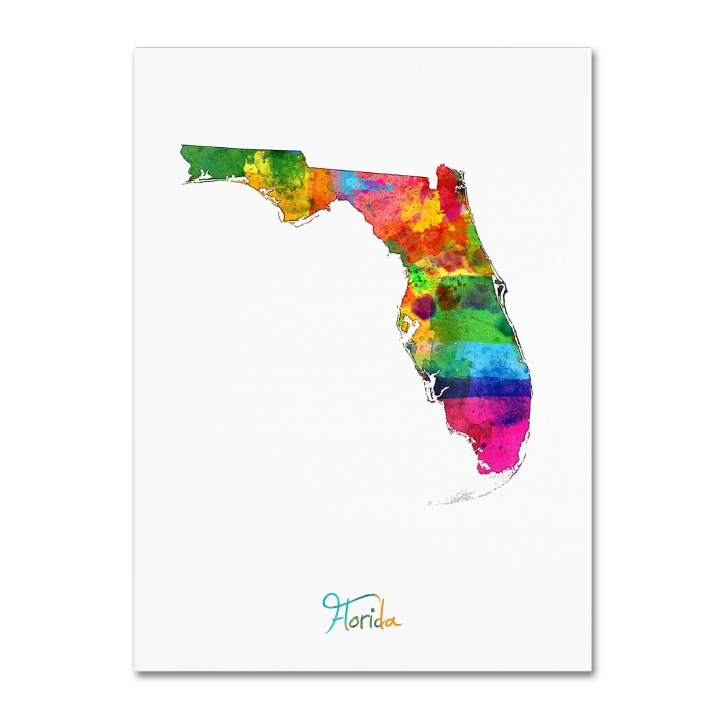 "Trademark Fine Art ""florida Map"" Canvas Artmichael Tompsett - Map Of Florida Art"