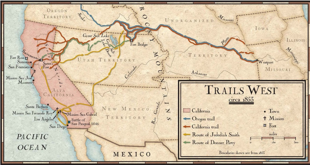 Trails West In The Mid-1800S | National Geographic Society - California Trail Map