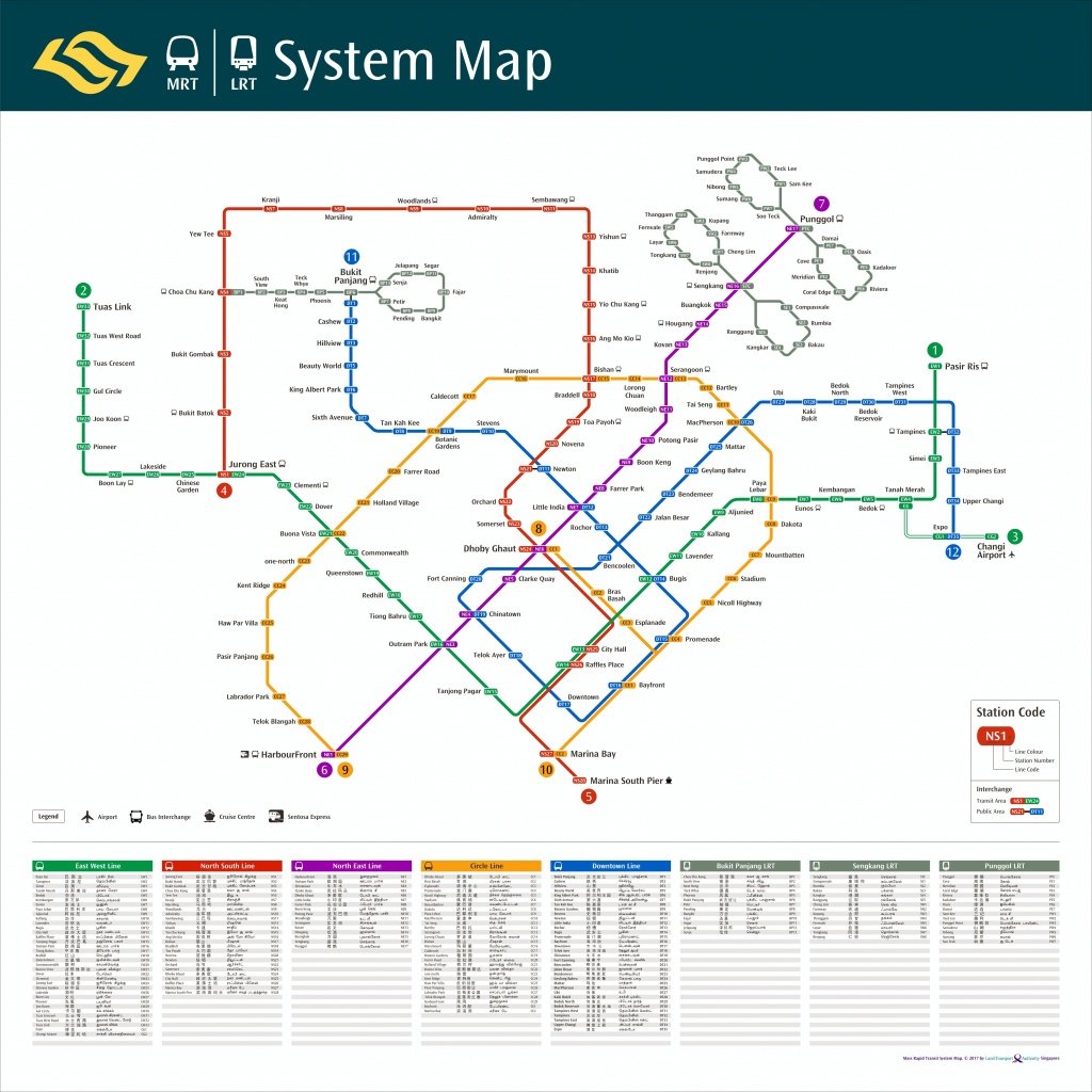Train System Map | Mrt & Lrt Trains | Public Transport | Land - Singapore Mrt Map Printable