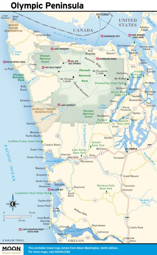 Travel Map Of The Olympic Peninsula And The Coast   Wa In 2019 - Washington Oregon California Coast Map