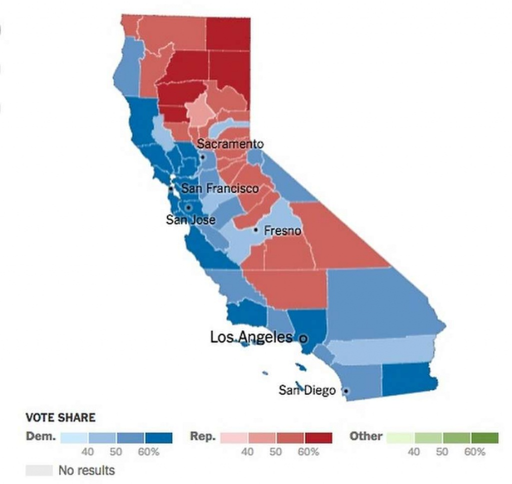 Trump Effect On Calif. Vote? - Sfgate - Show Map Of California Counties