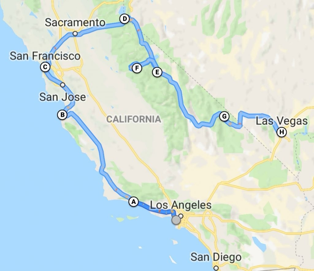 Two Week Road Trip Around California - Two Week Itinerary - California Road Trip Map
