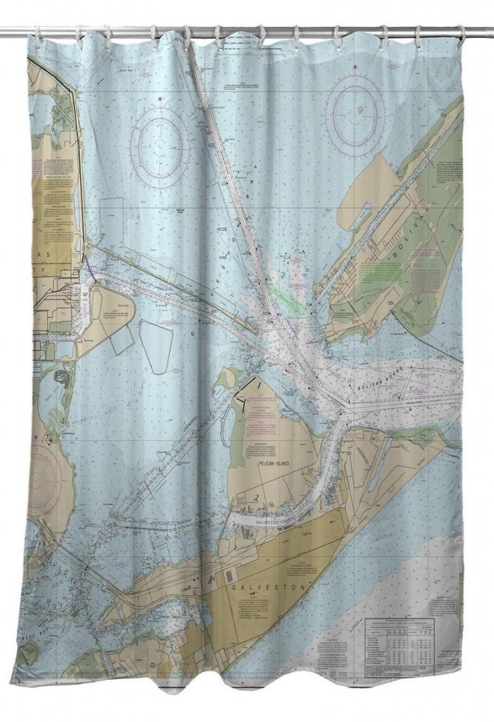 Tx: Galveston Tx Nautical Chart Shower Curtain Map Shower   Etsy - Texas Map Shower Curtain