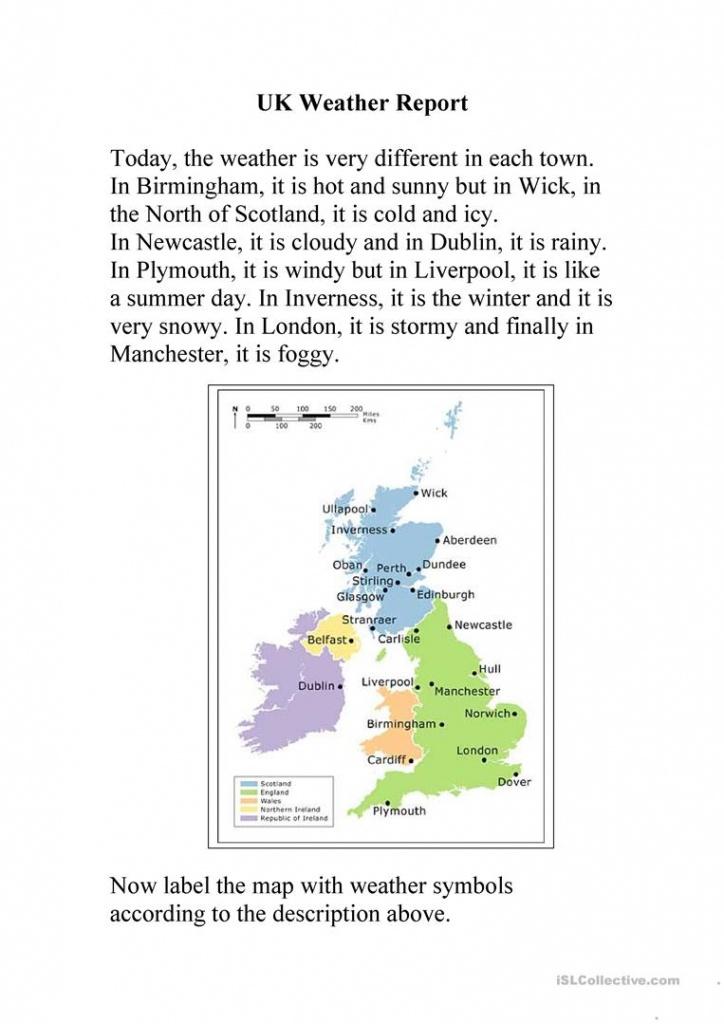 Uk Weather Report Worksheet - Free Esl Printable Worksheets Made - Free Printable Weather Map Worksheets
