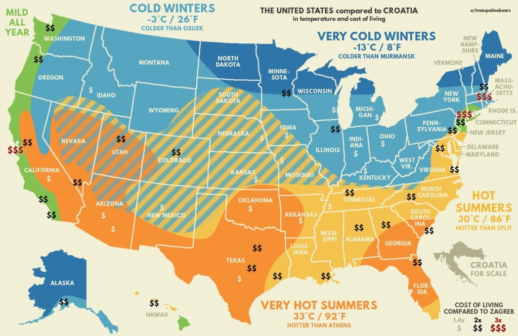 United States Compared To Croatia (Temperature And Cost Of Living) - California Cost Of Living Map