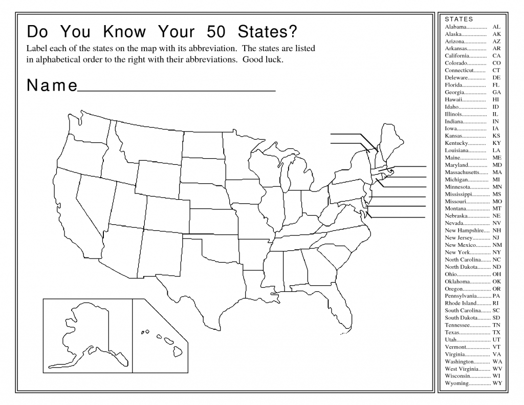 United States Map Activity Worksheet | Social Studies | Map Quiz - 50 States Map Blank Printable