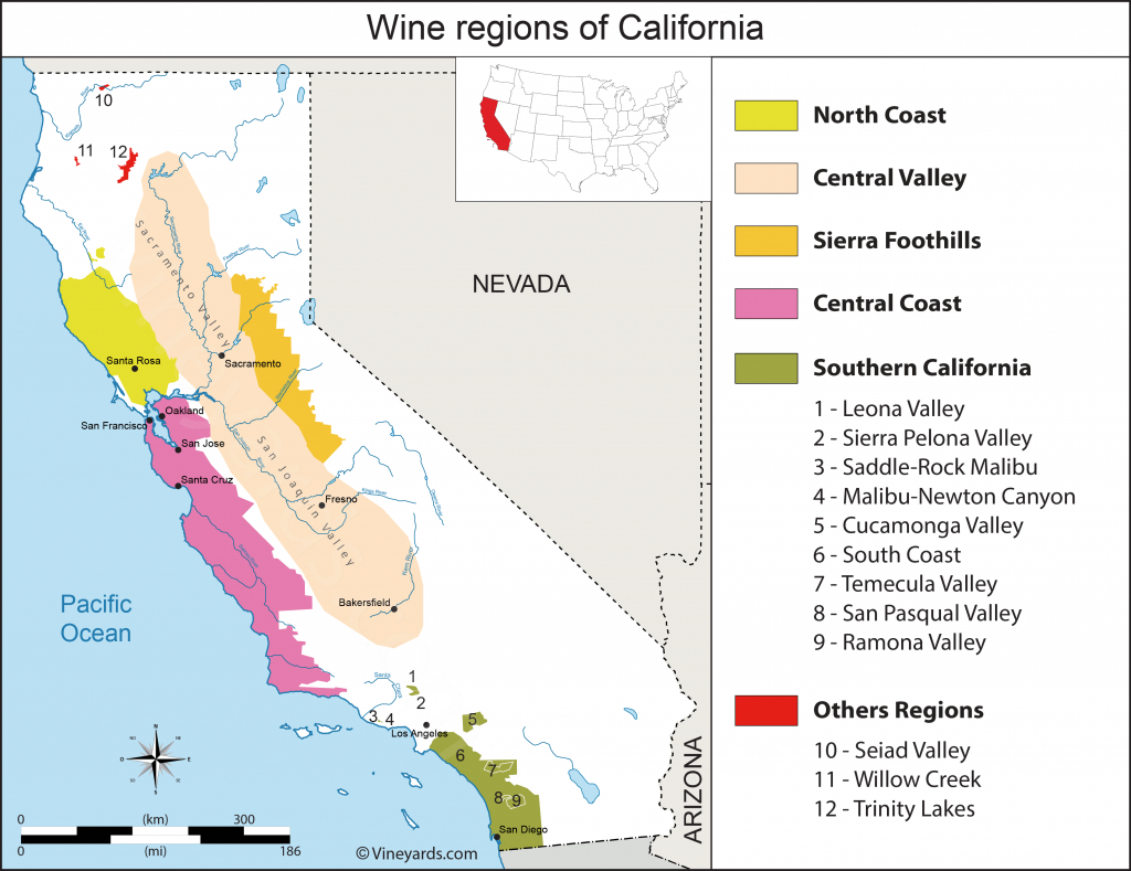 United States Map Of Vineyards Wine Regions - Central California Wineries Map