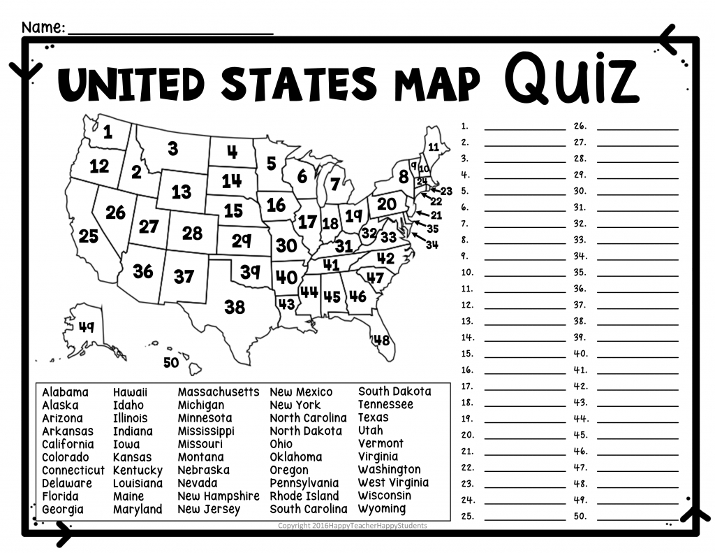 United States Map Quiz & Worksheet: Usa Map Test With Practice - States And Capitals Map Test Printable