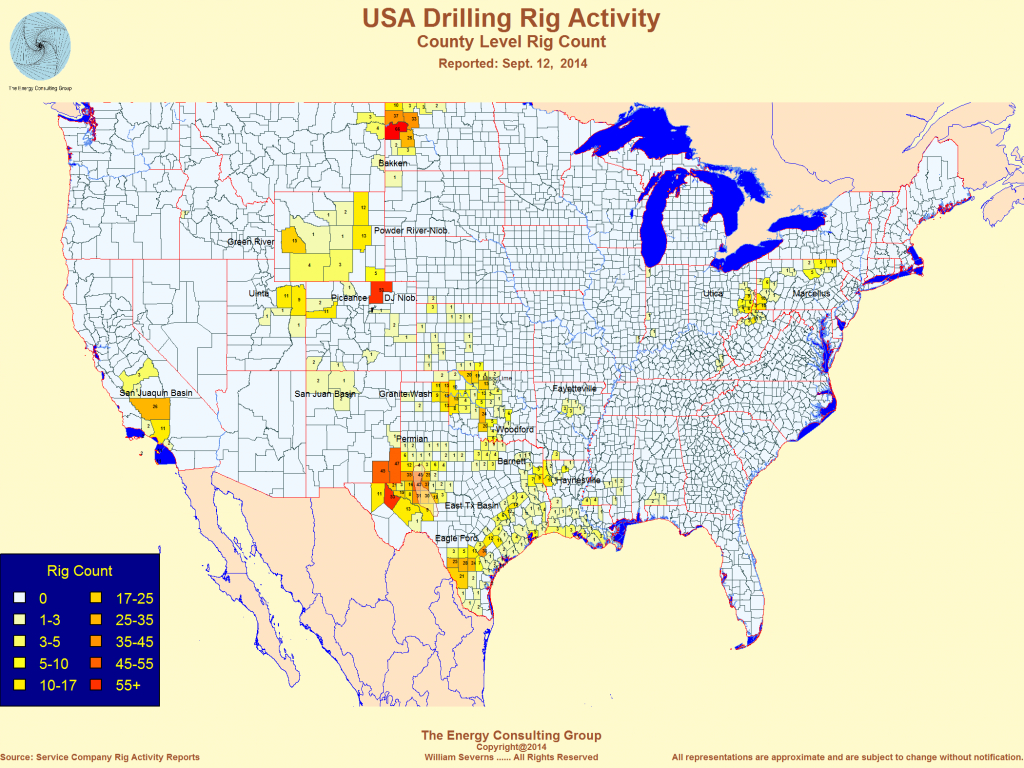 United States Oil And Gas Drilling Activity - Texas Rig Count Map