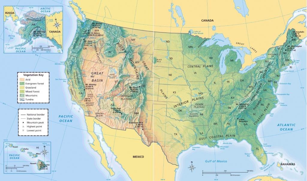 United States Physical Map - Maplewebandpc - Physical Map Of The United States Printable