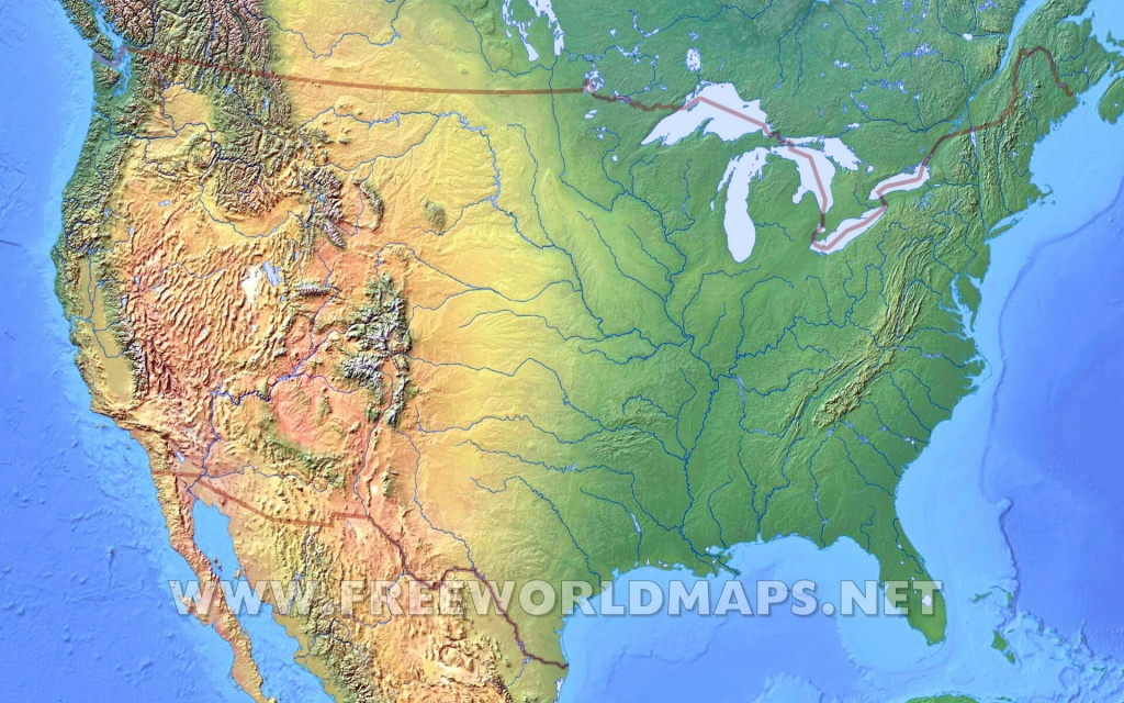 United States Physical Map - Physical Map Of The United States Printable
