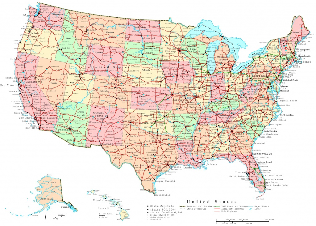 United States Printable Map - Printable Map Of Usa With Cities And States