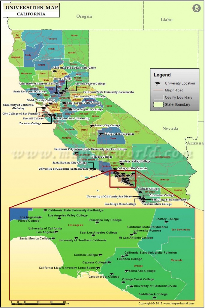 Universities Map Of California, Usa | Colleges / Dorm Rooms For The - California Cities Map List