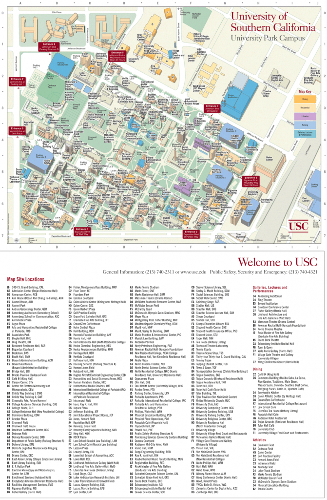 University Of Southern California Map • Mapsof - University Of Southern California Map