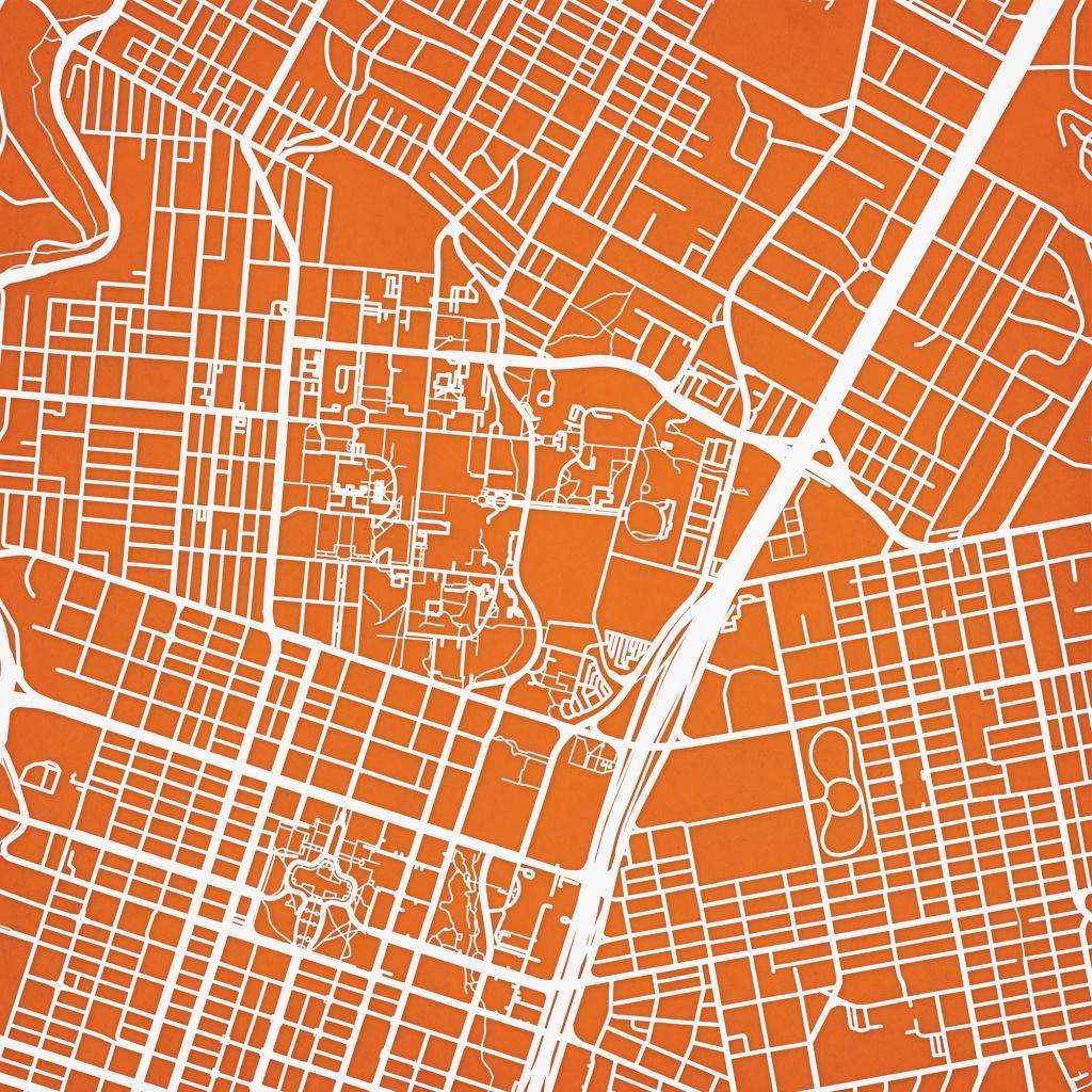 University Of Texas At Austin Campus Map Art - City Prints - Texas Map Art