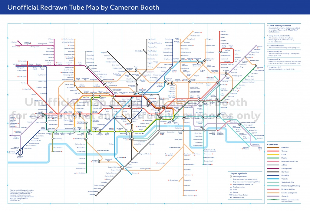 Unofficial Redrawn Tube Map – Large – Cameron Booth - Printable London Tube Map 2010