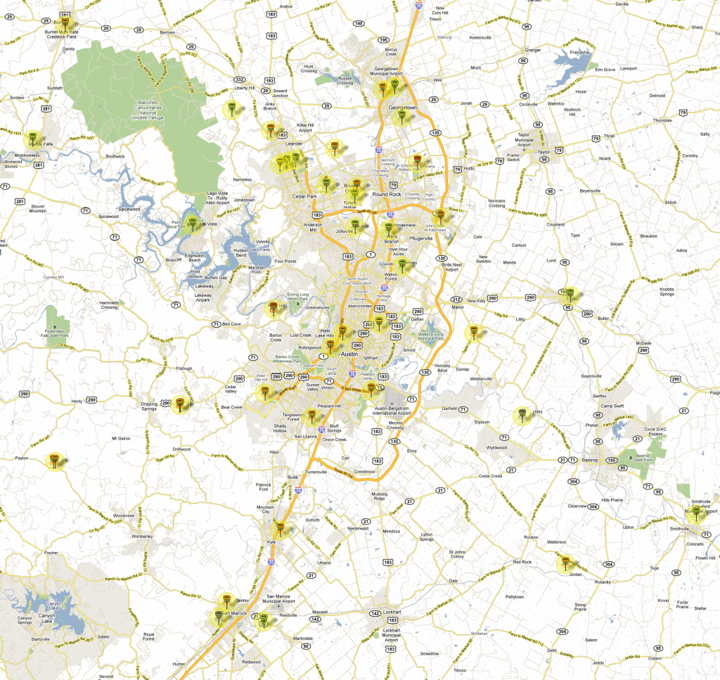 Updated Disc Golf Map For Greater Austin Area - Disc Golf Course Review - Printable Map Of Austin Tx