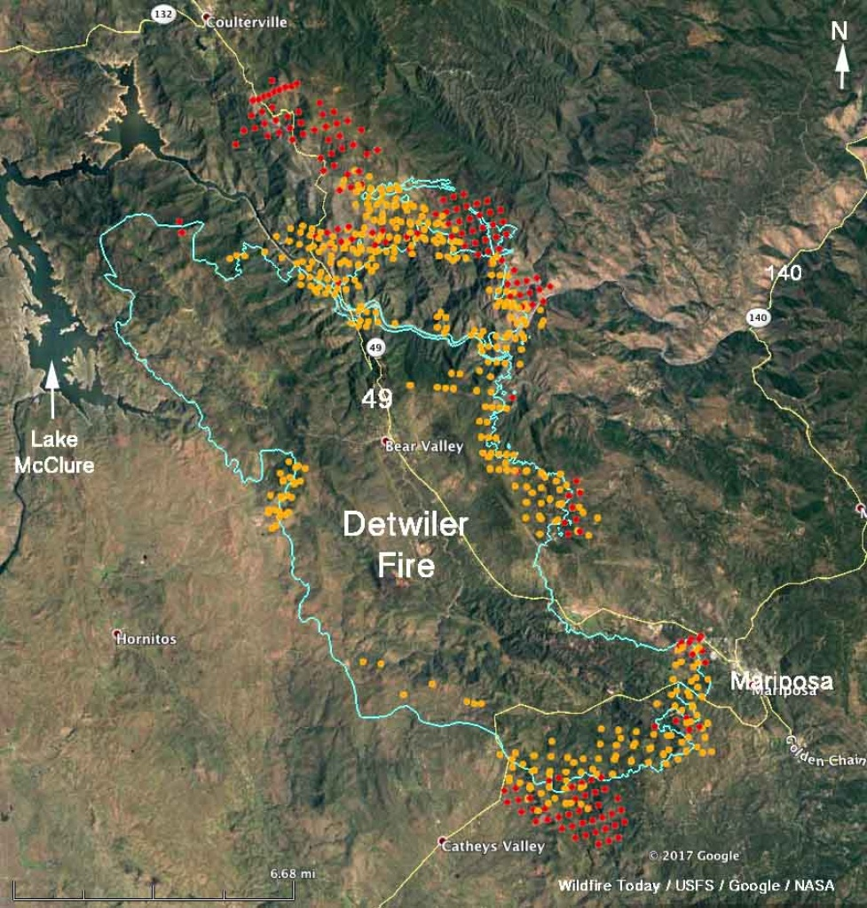 Updated Map Of Detwiler Fire Near Mariposa, Ca - Wednesday Afternoon - California Fires Map Today