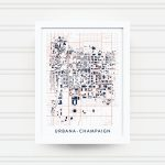 Urbana Champaign Il Map Print / University Of Illinois Gift / | Etsy   Printable Map Of Champaign Il