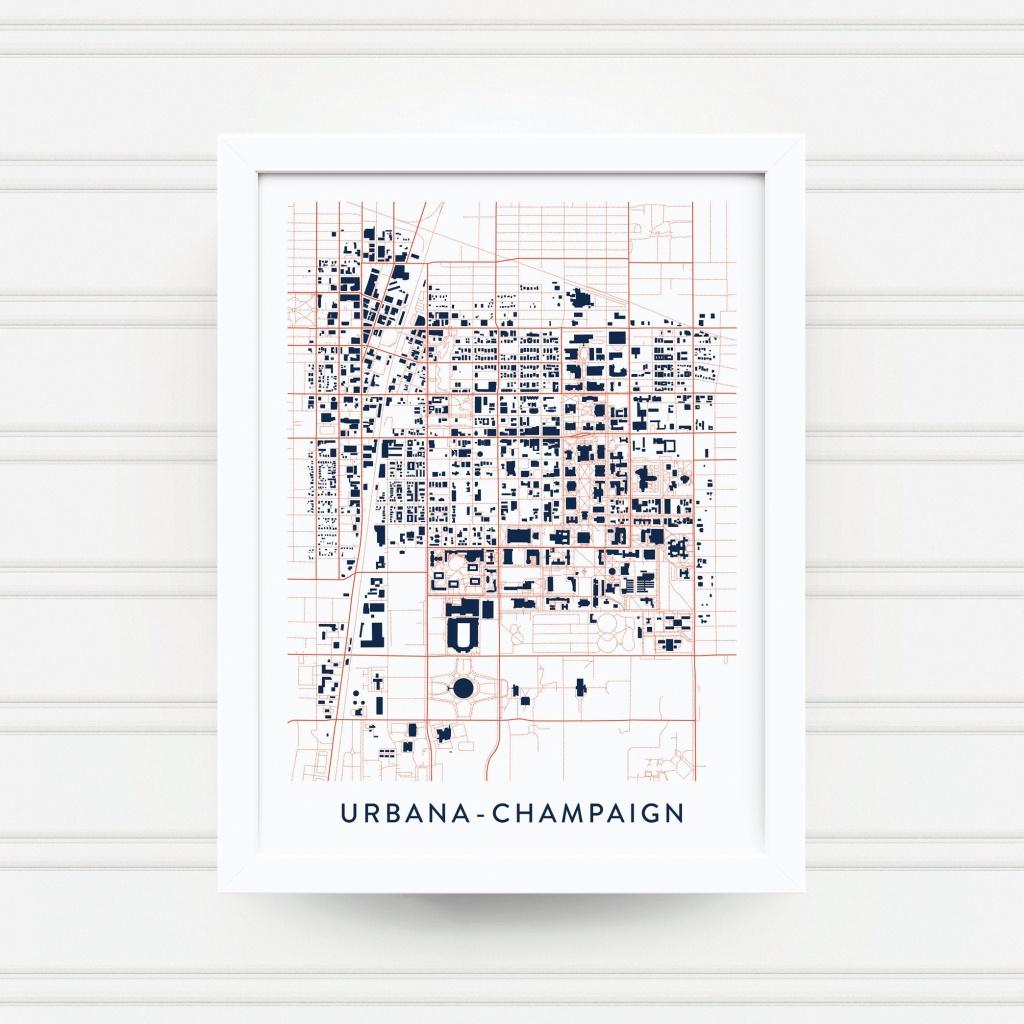 Urbana-Champaign Il Map Print / University Of Illinois Gift / | Etsy - Printable Map Of Champaign Il