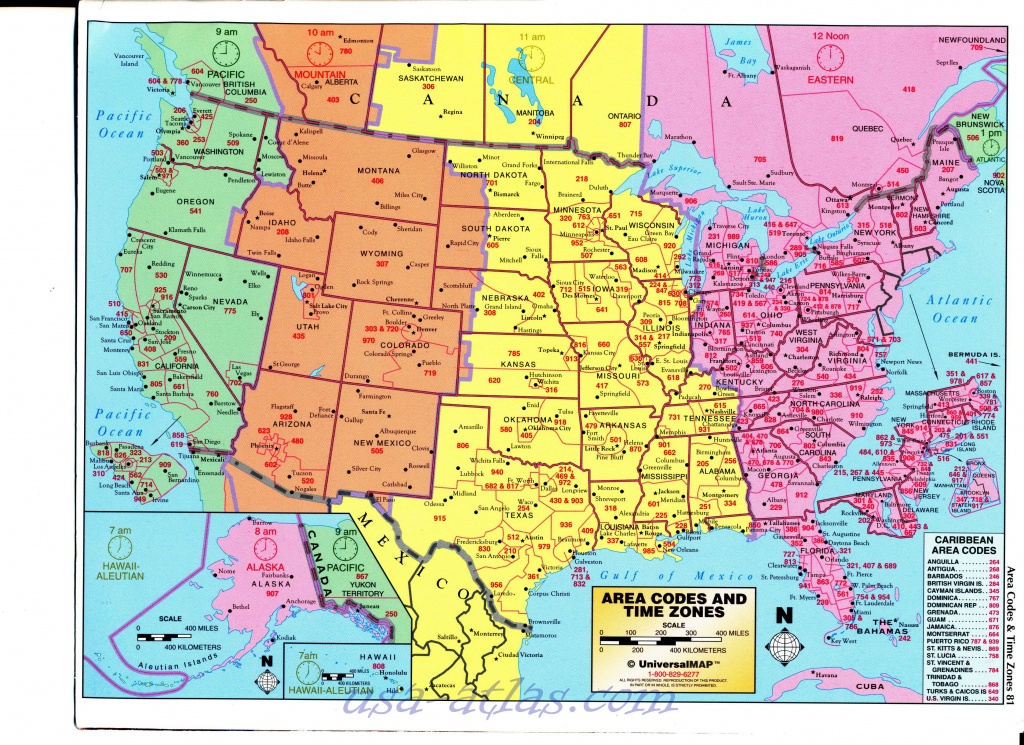 Us Area Code Map With Time Zones Usa Time Zone Map With States - Us Area Code Map Printable