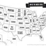 Us Map Black And White Printable Of The Usa Mr Printables - Usa Map Black And White Printable