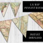 Us Map Pennant Banner, Vintage Us Map Banner, Classroom Banner   Printable Map Banner