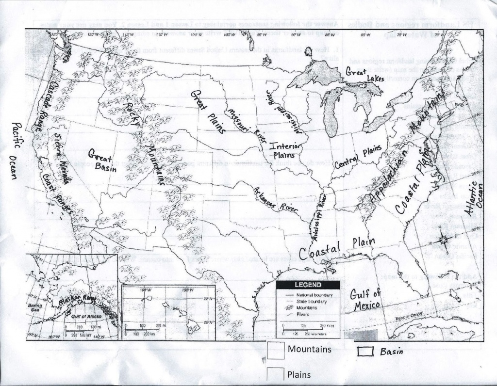 Us Physical Map Worksheet | Sitedesignco - Physical Map Of The United States Printable