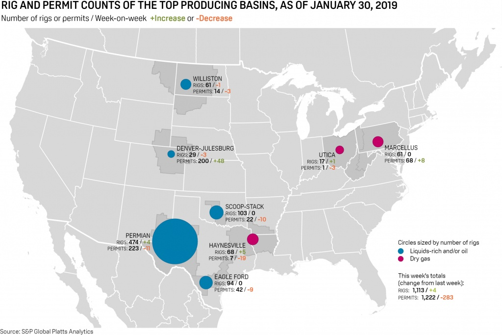 Us Rig Count Risesfour To 1,113, Snapping 10-Week Decline | S&p - Texas Rig Count Map