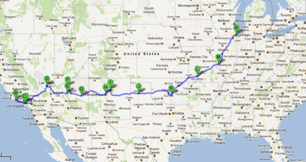 Usa 2012 – Cali + Route 66 | Places To Visit | Route 66 Road Trip - Printable Route 66 Map