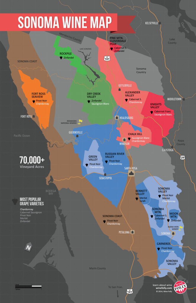 Usa: California, North Coast Wine Map | Carte Des Vins | Carte Des - California Wine Ava Map