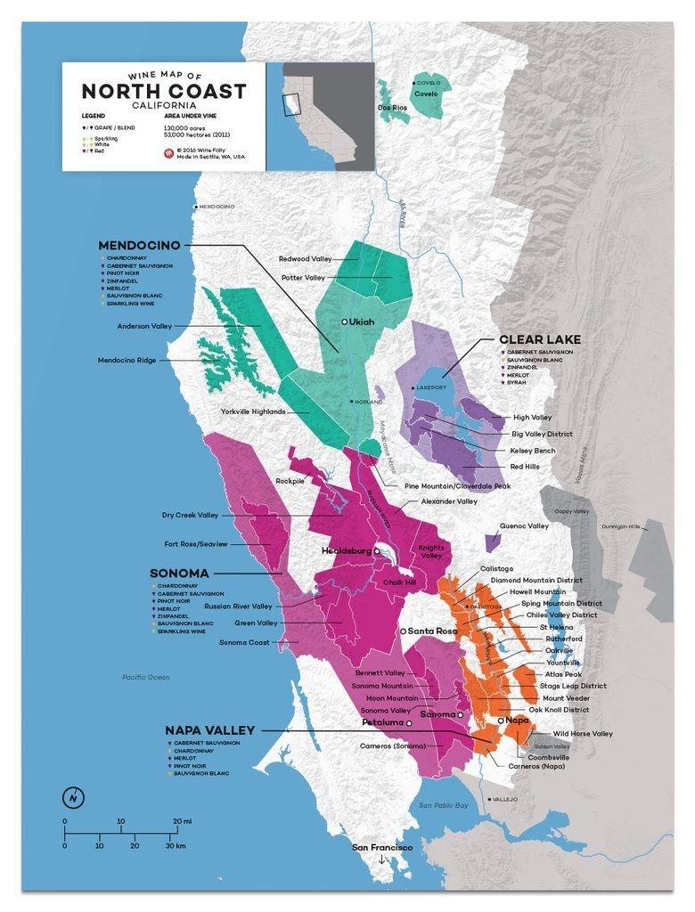 Usa: California, North Coast Wine Map In 2019   Drinks   Wine Folly - California Wine Appellation Map