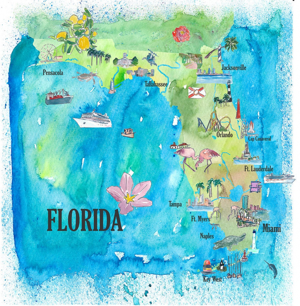 Usa Florida State Fine Art Print Retro Vintage Map With Touristic - Florida Map Artwork