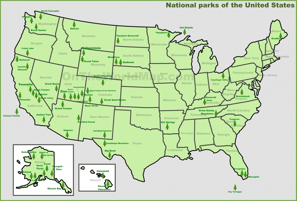 Usa National Parks Map - Printable Map Of Us National Parks