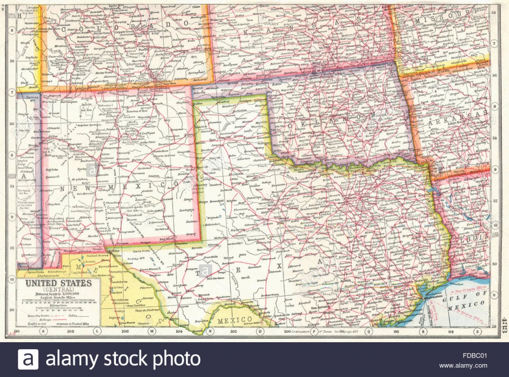 Usa South Centre: New Mexico Oklahoma North Texas. Harmsworth, 1920 - Map Of North Texas And Oklahoma