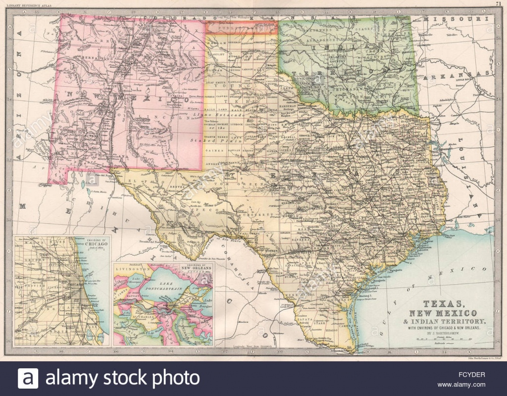 Usa South:texas Nouveau Mexique Territoire Indien & 'public Land - Texas Public Land Map