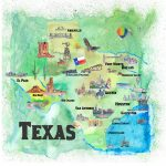Usa Texas Travel Poster Map With Highlights Paintingm Bleichner   Texas Map Poster