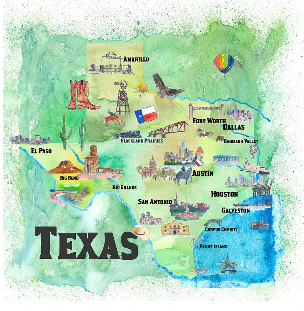 Usa Texas Travel Poster Map With Highlights Paintingm Bleichner - Texas Map Poster