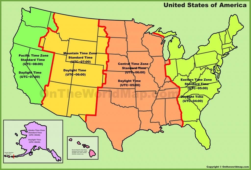 Usa Time Zone Map - Usa Time Zone Map Printable