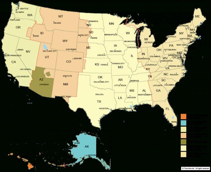 Us Timezone Map Printable