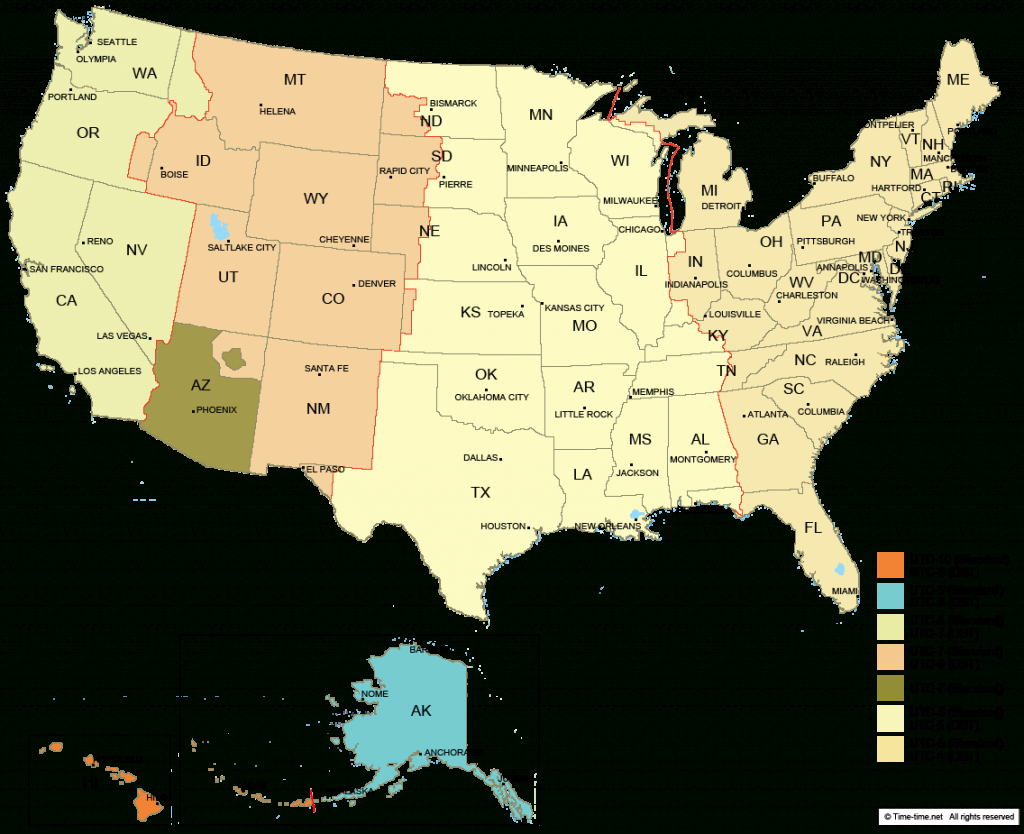 Usa Time Zone Map - With States - With Cities - With Clock - With - Us Timezone Map Printable
