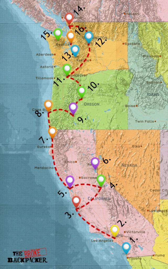 Usa West Coast Road Trip Guide (July 2019) - California Oregon Washington Road Map