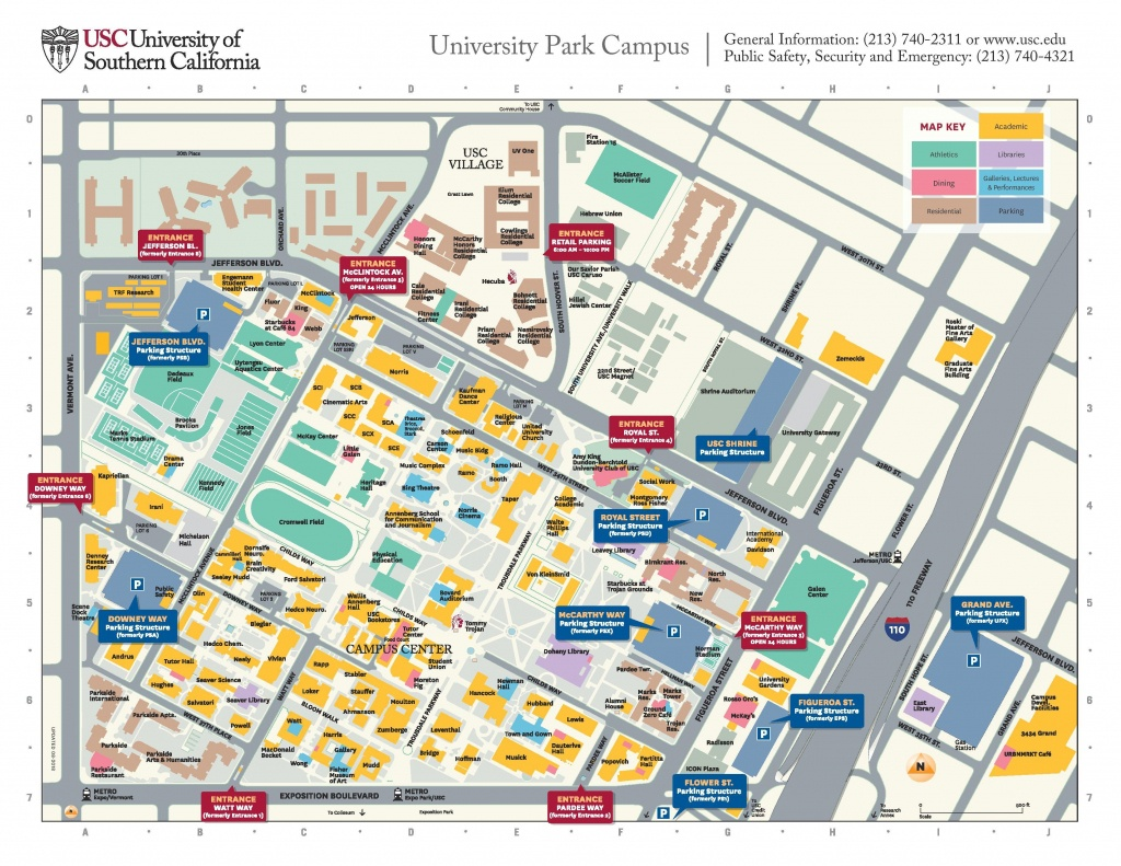 Usc Campus Parking Map - Map Of Usc Campus Parking (California - Usa) - Usc Campus Map Printable
