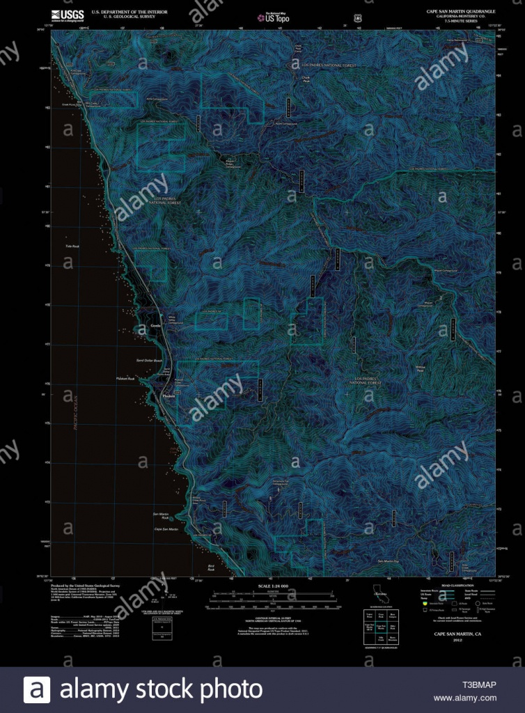 Usgs Topo Map California Ca Cape San Martin 20120327 Tm Inverted - San Martin California Map