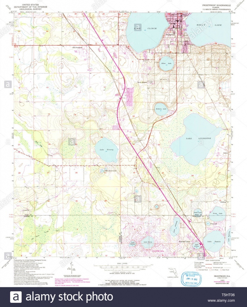 Usgs Topo Map Florida Fl Frostproof 346353 1953 24000 Restoration - Frostproof Florida Map
