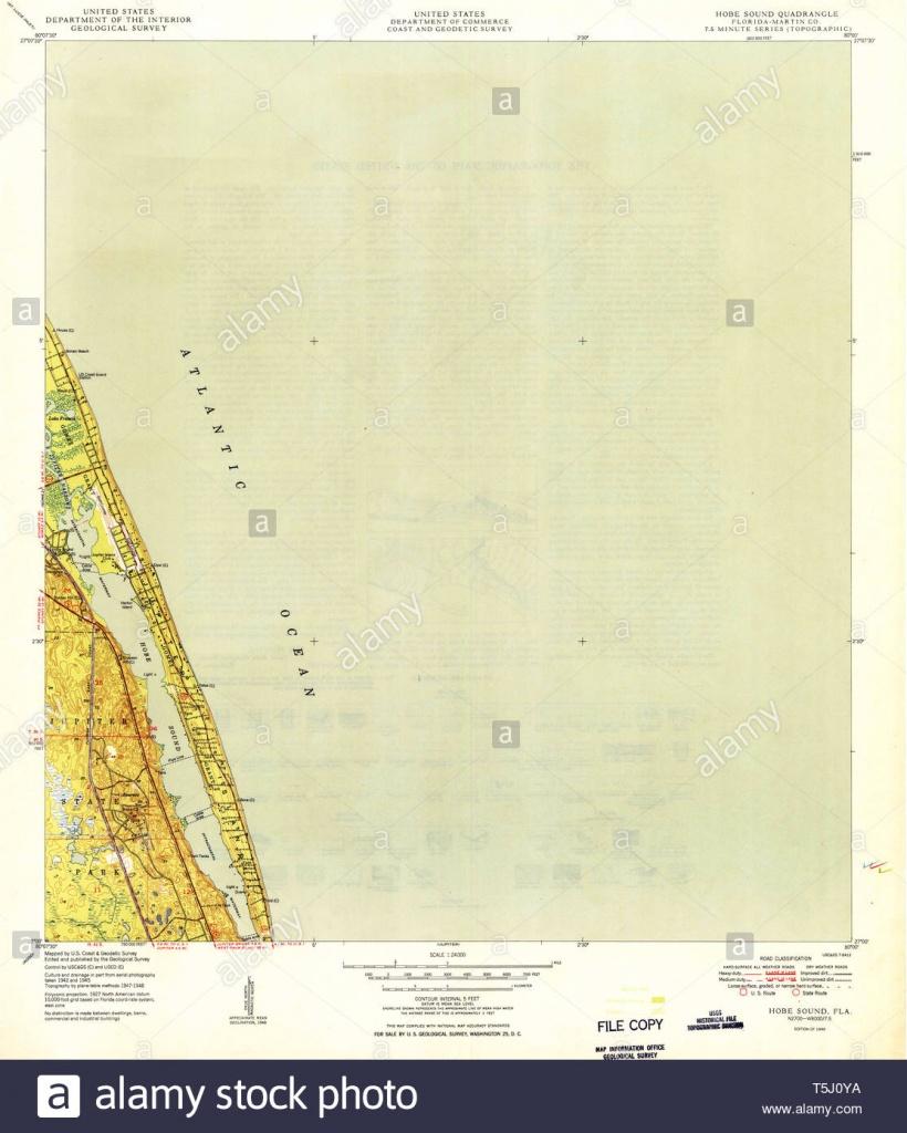 Usgs Topo Map Florida Fl Hobe Sound 346641 1949 24000 Restoration - Map Of Florida Showing Hobe Sound