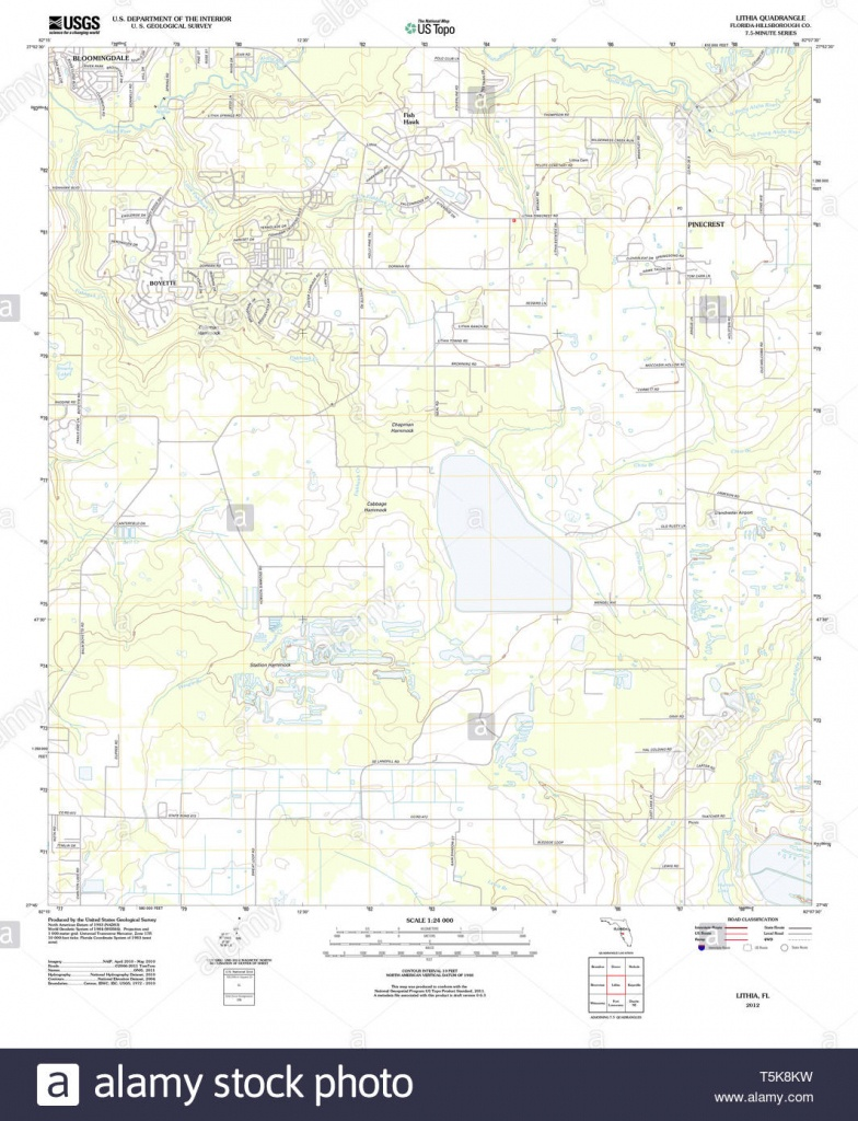 Usgs Topo Map Florida Fl Lithia 20120725 Tm Restoration Stock Photo - Lithia Florida Map