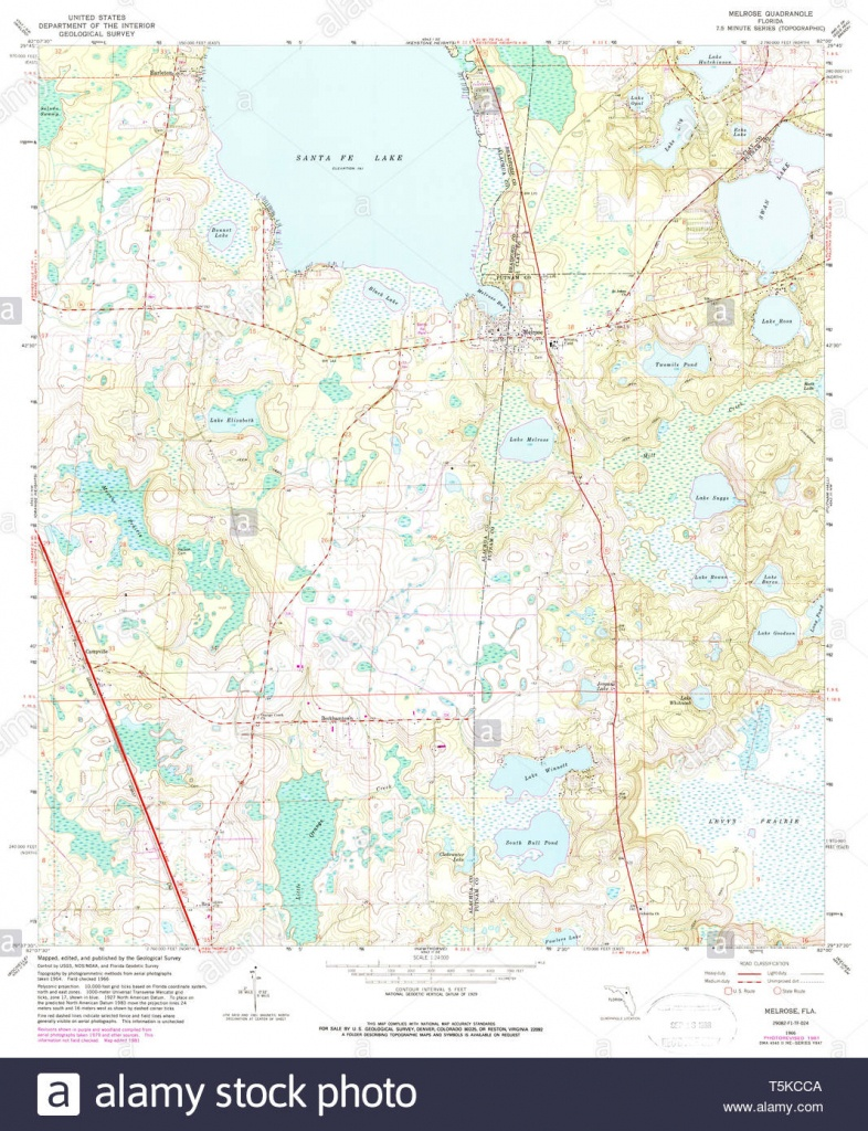 Usgs Topo Map Florida Fl Melrose 347452 1966 24000 Restoration Stock - Usgs Topographic Maps Florida