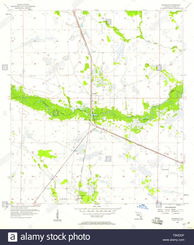 Usgs Topo Map Florida Fl Palmdale 347983 1958 24000 Restoration - Usgs Topographic Maps Florida